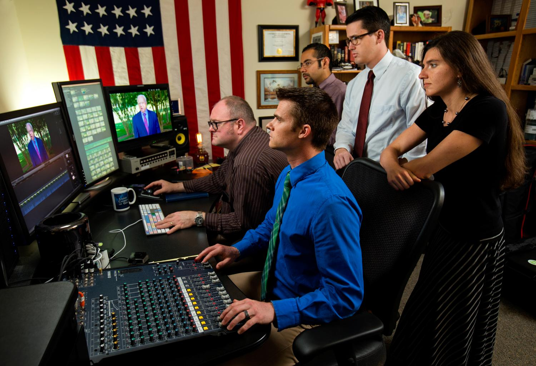 students observing TV editing